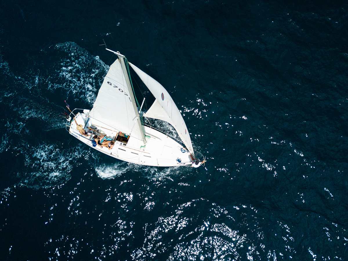 aerial sailboat photo