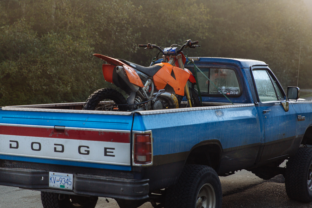 dirt bike in a dodge