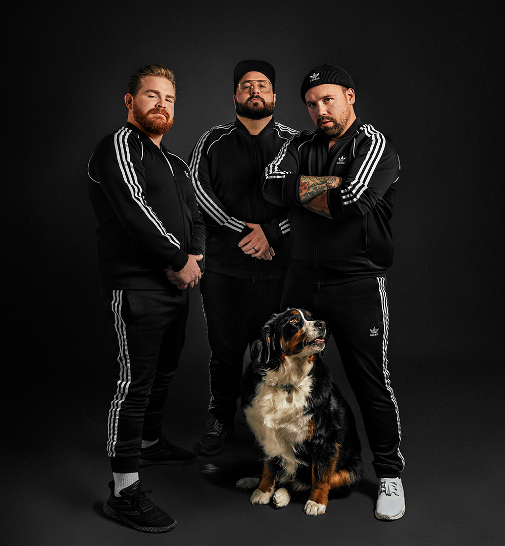 men studio portrait in track suits